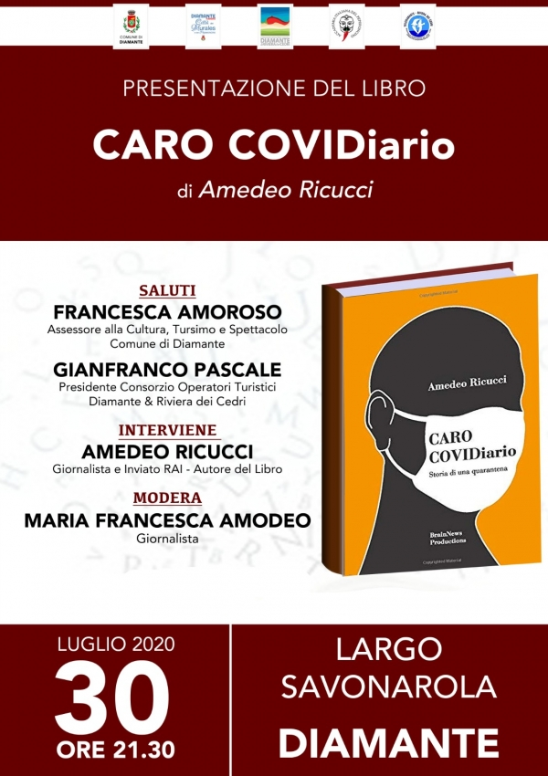 DIAMANTE(CS).SARA' PRESENTATO QUESTA SERA A DIAMANTE L'ULTIMO LIBRO DI AMEDEO RICUCCI.